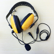 honghuismart Yellow color fashion noise canceling headphone K plug 2pins mic for Kenwood,linton baofeng ,puxing walkie talkie