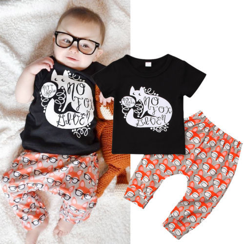 1419197ecd9 Toddler Kids Baby Girls Cartoon Fox Outfit Clothes Black Short Sleeves T-shirt  Tops+Long Pants Trousers Summer 2PCS Set