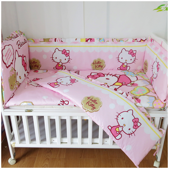 ФОТО Promotion! 6PCS Hello Kitty baby bedding set 100% unpick and wash cotton crib kit baby bed around (bumper+sheet+pillow cover)