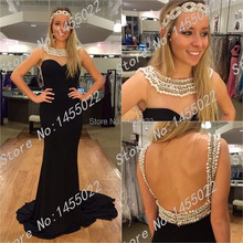 2015 neue Ankunfts-nach Maß Schwarz Lange Open Back Prom Mit Strass Perlen Elegante Lange Abendkleid Robe de Soiree