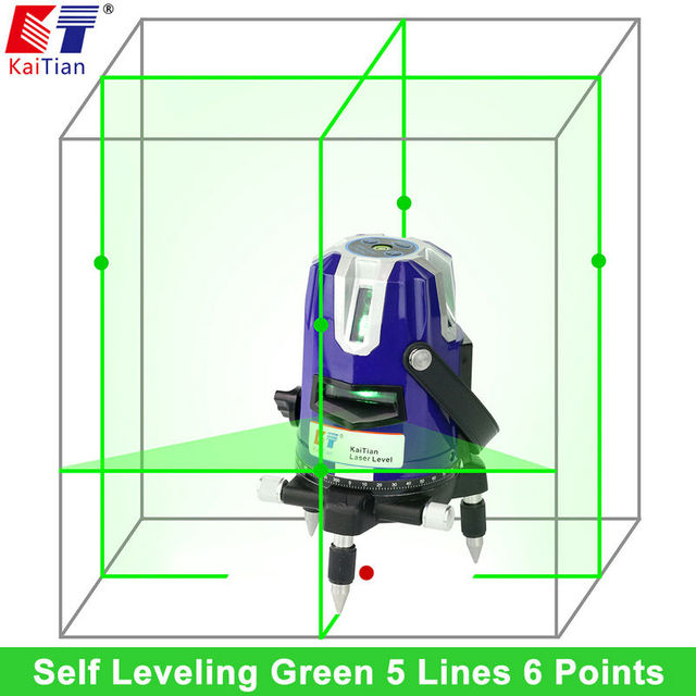 KaiTian Rotary Laser Level Green 5 Lines 6 Points Cross Level Leveling with Tilt/Slash Function Receiver Detector EU Lazer Level