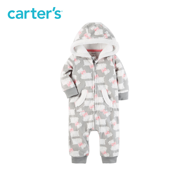 7e1837e97901 Soft cozy Dog Print Hooded Fleece Jumpsuit one piece Carter s baby ...
