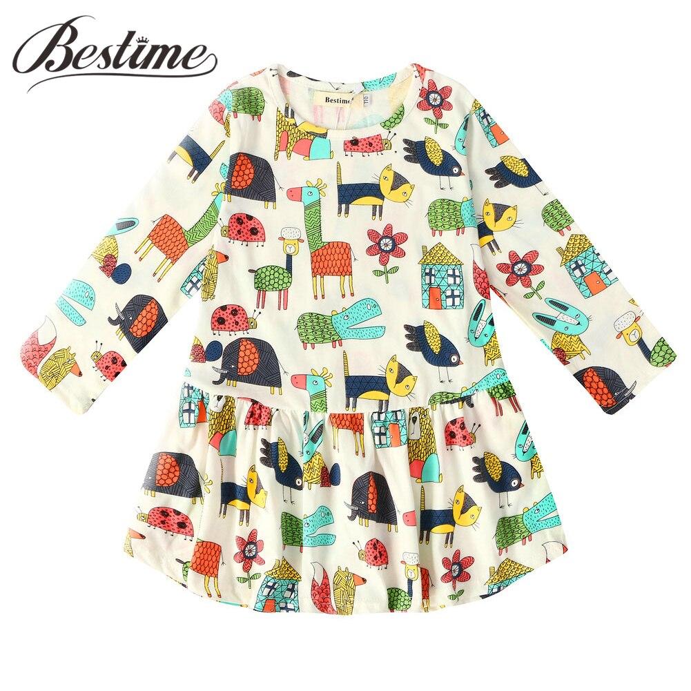 Fashion Girls Clothes Autumn Girls Dress Kids Long Sleeve Cotton Dress Casual Cartoon Lady Bug Alpaca Cat Children Dresses 2018