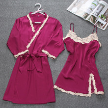 JINUO Women Robe & Gown Sets Sexy Lace Sleep Lounge Pijama L
