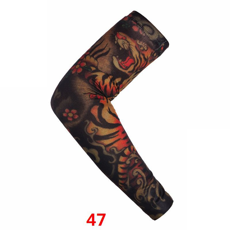 New 1 PC Sunscreen Hand Temporary Tattoo Sleeves UV Cool Sleeves Cuffs Sport Elastic Stockings Art Arm Cover Warmers Gauntlet