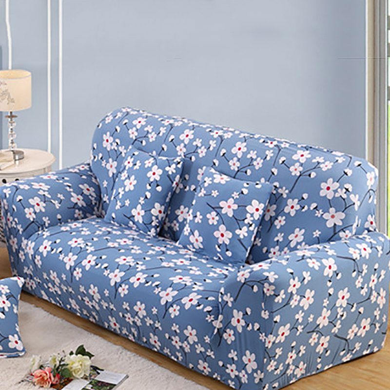 Blue Small Flower Polyester Drawing Room Decorate Sofa