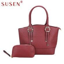 SUSEN 4231 Nuevo Bolso de Las Mujeres + Monedero 2 Unids Set Fashion City ocio costura de gran capacidad portátil de hombro Brillante Color bolsa