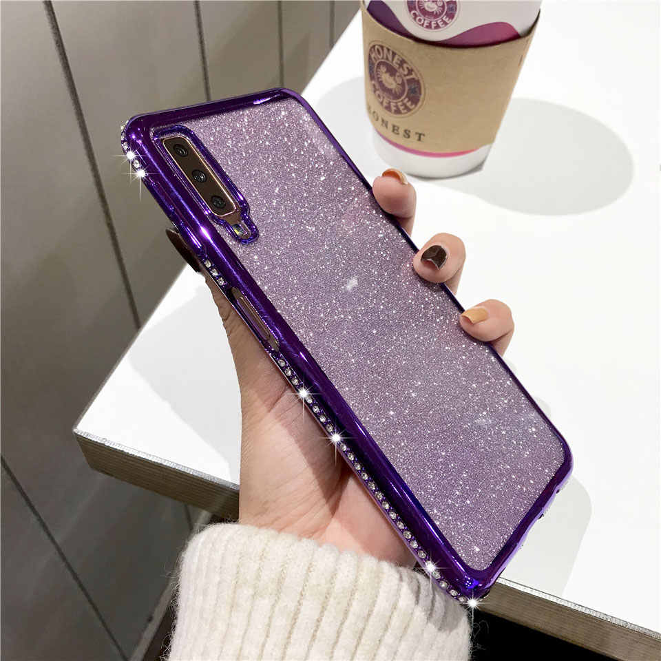 Diamond Case For Samsung M10 M20 A10 A20 A30 A40 A50 A70 Cover TPU Soft Glitter Phone Cases A7 2018 A5 A6 A8 Note 9 S10 S9 S8