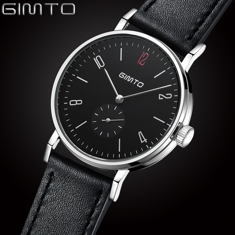 Fashion Men Watch GIMTO Casual Watches Men Top Brand Luxury Leather Men Wristwatches Military Sport Quartz Watch reloj hombre fashion men watch wwoor brand casual watches men top brand waterproof luxury steel men wristwatches quartz watch reloj hombre