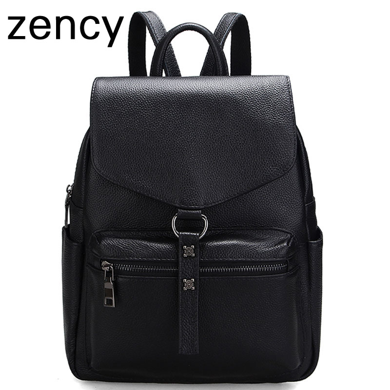 Zency Backpack First Layer Genuine Cow Leather Women's Backpacks Ladies Girl's School Bag Real Cow Mochila zency fashion leather backpack real natural genuine leather women backpacks ladies girl school bag top layer cowhide mochila
