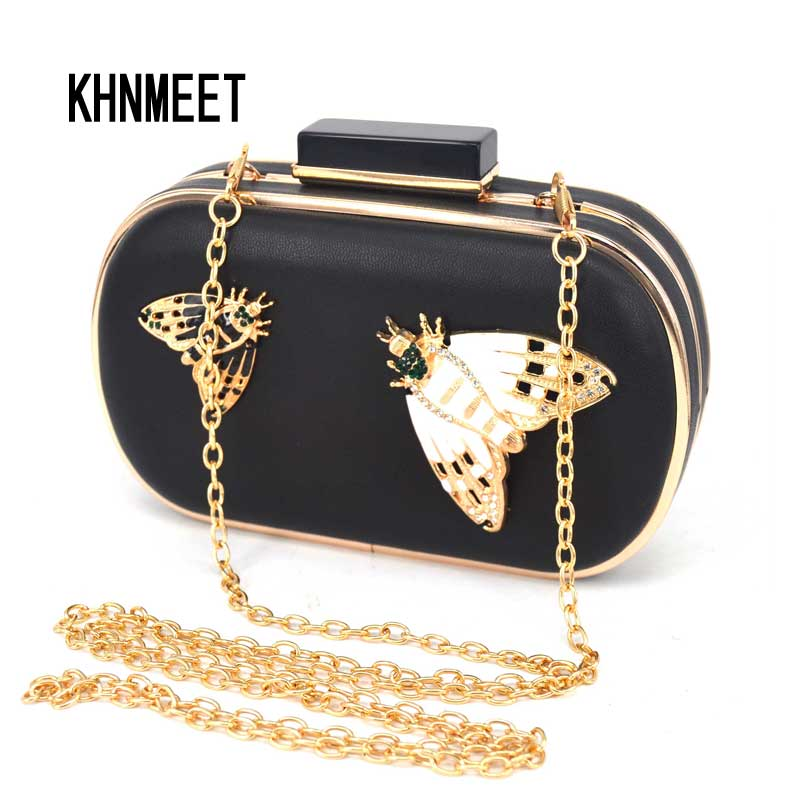 Brand Designer Insects Pattern Black Pu Clutch Evening Bag Women Chain Mini Handbags Fashion Butterfly Party Purse Clutches Z88 fashion box evening bag oil painting flower black lock clutch bag strap mini tote bag ladies purse trunk white women handbags