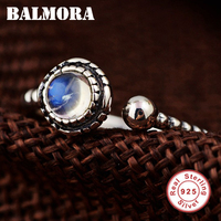 BALMORA 925 Sterling Silver Open Rings for Women Men Lovers Gift Moonstone Ring Classic Fashion Silver Jewelry Anillos TRS22094