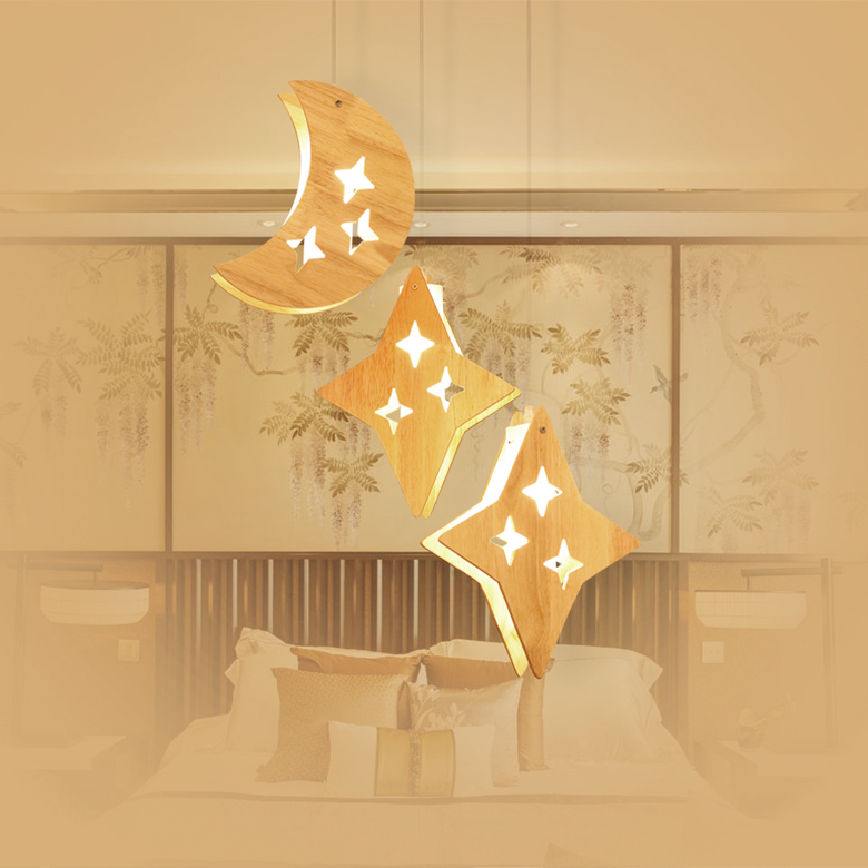 Nordic real wood star moon Pendant Lights Restaurant Bar creative droplight personality warm children room LED Pendant lamp zb53 bamboo wooden pendant lamp head wood japanese nordic korean creative dining room pendant lamps zb53