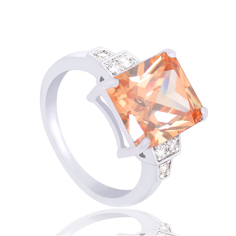 Best buy ) }}H:HYDE Nice Shipping silver Champagne Square CZ Zircon Classic Jewelry