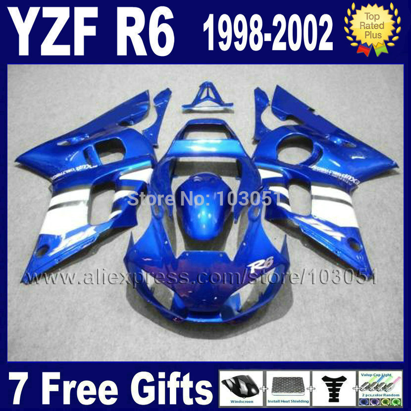 7gifts ABS plastic fairing for YAMAHA YZFR6 1998 1999 2000 2001 2002 YZF600 02 00 99 98 blue YZF R6  fairings kit body repair