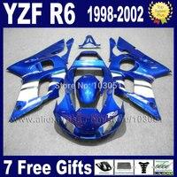 7gifts ABS plastic fairing for YAMAHA YZFR6 1998 1999 2000 2001 2002 YZF600 02 00 99 98 blue YZF R6 fairings kit body repair