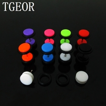 New arrive Hot wholesale piercing body jewelry 8mm 160pcs illusion cheaters solid colors Acrylic ear Fake Plugs free shipping