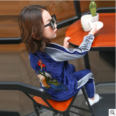 Kids spring 2017 new big virgin girls sports suit baby autumn two-piece casual long-sleeved clothes for girls 3-14 years old 2 spring new kids girls spring dress embroidered two piece suit
