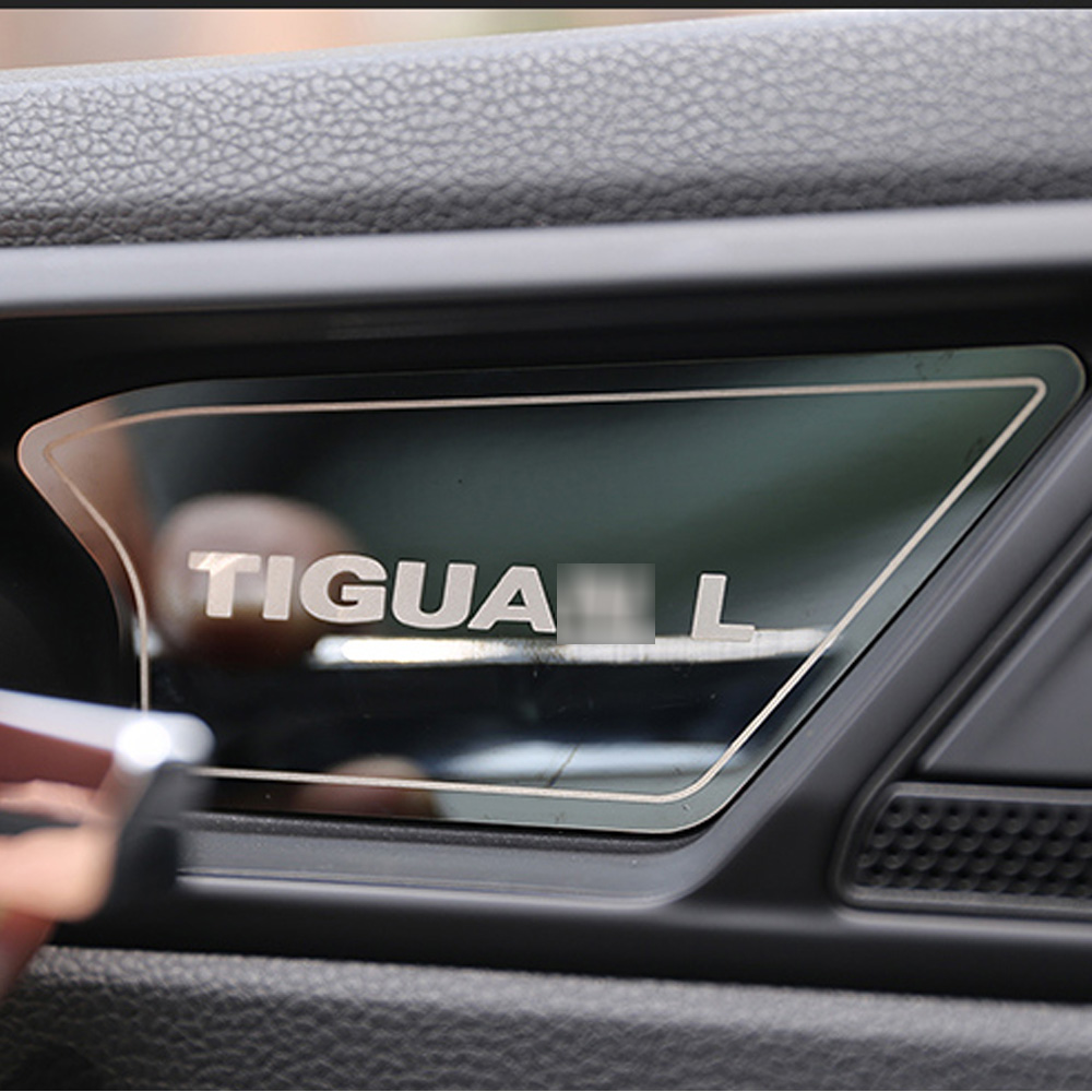 For <font><b>Tiguan</b></font> L 2017 2018 <font><b>2019</b></font> car interior handle bowl trim decoration cover sequins sticker <font><b>accessories</b></font> car styling image