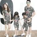 2017 новый Корейский Семья установлены летние футболки камуфляж костюм Family Pack семьи сопоставления одежда
