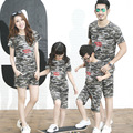 2017 new Korean Family fitted summer t-shirts camouflage suit Family Pack family matching clothes