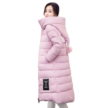 2017 New Winter Fashion large size down cotton jacket Fashion  Hair Ball Hooded Thicken Long Down Jacket  Keep Warm Women Coats