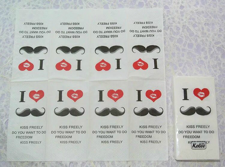 1Pack 10pcs Cartoon Mustache Printed small napkin paper toilet tissue party handkerchief wedding birthday Decoration LUHONGPARTY in Disposable Party Tableware from Home Garden