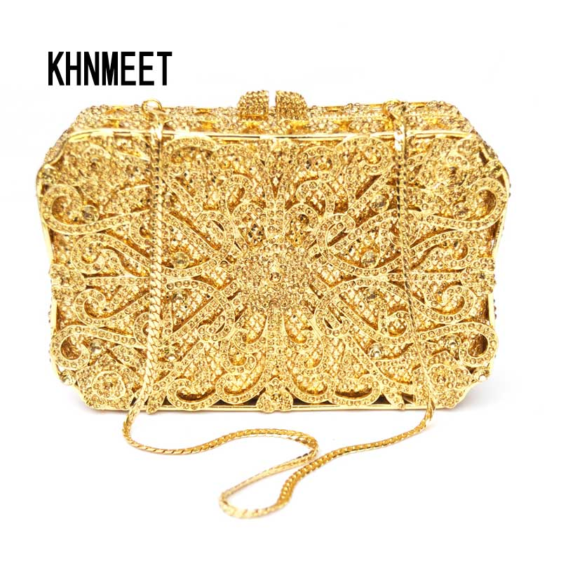 luxury diamante box shape clutch bags Golden women wedding bridal party purse feminina sacoche Bling evening