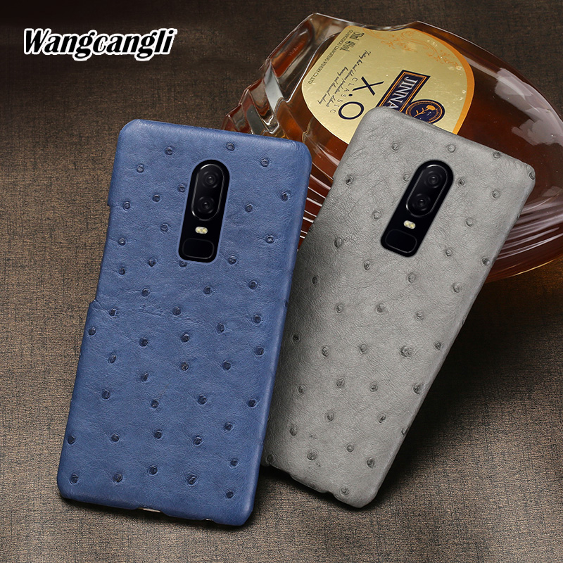 Wangcangli ostrich skin phone case for Oneplus 6 case half-pack phone case Genuine Leather protection case for oneplus seriesWangcangli ostrich skin phone case for Oneplus 6 case half-pack phone case Genuine Leather protection case for oneplus series