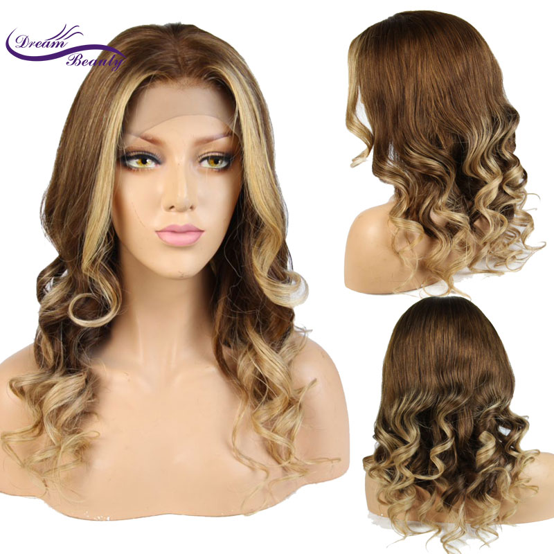Dream Beauty Highlights #6/#27 Lace Front Human Hair Wigs With Baby Hair Pre Plucked Hairline Body Wave Remy Brazilian Hair Wigs