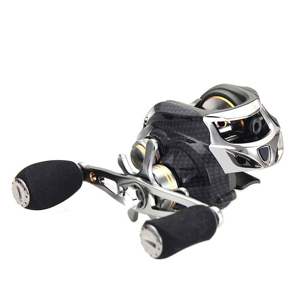 Left/Right-Hand Strong Tension Metal Carbon Fiber 18+1 Axis Double Brake Lure Fishing Low-Profile Reel Fishing Reel
