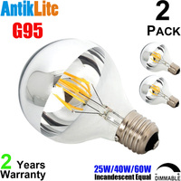 E26 G30 4W 6W 8W Vintage LED Antique Filament Bulb Medium Edison Screw E27 Based Half