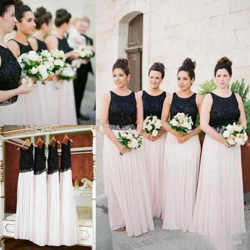 2019 New Simple   Bridesmaid     Dresses   Jewel Neck Country Sleeveless Sequins Chiffon Floor Length Maid of Honor Wedding Guest Gowns