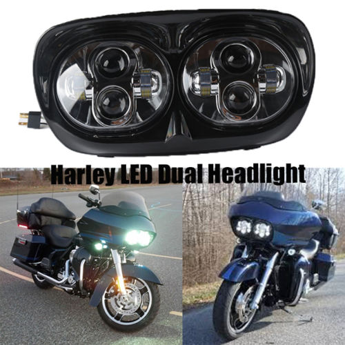 Dual Led Projector Moto Led Headlight Lamp Assembly For Harley 2004 2013 Road Glide