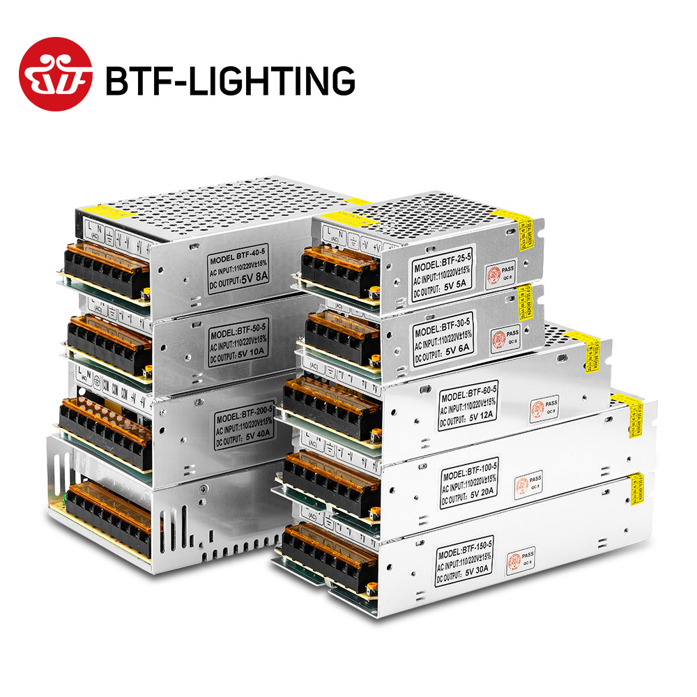 5V 2A/3A/4A/5A/6A/8A/10A/12A/20A/30A/40A/60A алюминиевый трансформатор переменного тока 100V-240V Питание для светодиодной ленты WS2812B/APA102