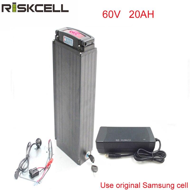 Rack arrière Vélo Électrique Batterie 60 v 3000 w Lithium ion Batterie 60 v 20AH pour 2000 w E- vélo Moteur + Puissance lumières Pour Samsung cellulaire