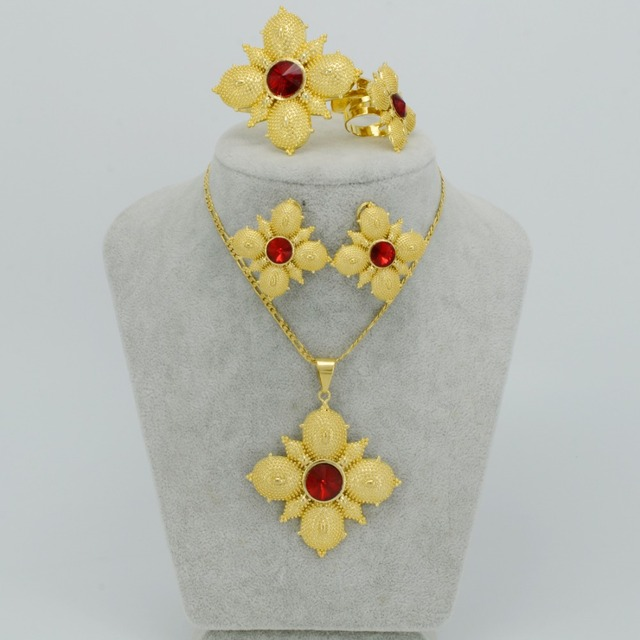 2017 Party Wedding Ethiopian Cross Jewelry sets Gold Plated Fashion Stone Cross sets for African Traditional Festival #046702