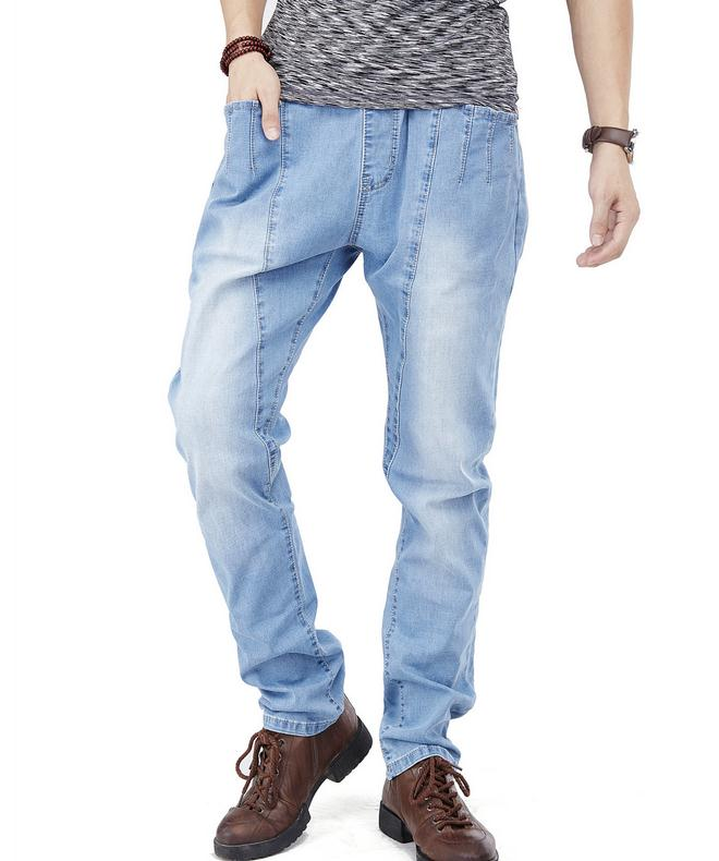 ФОТО Men's Elastic waist jeans Straight stretch jeans Light color trousers size 30-46