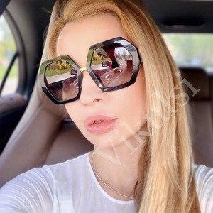 Женские солнцезащитные очки с шестигранной оправой, красные Квадратные Солнцезащитные очки с толстой оправой, Lunette de soleil UV400, 2019