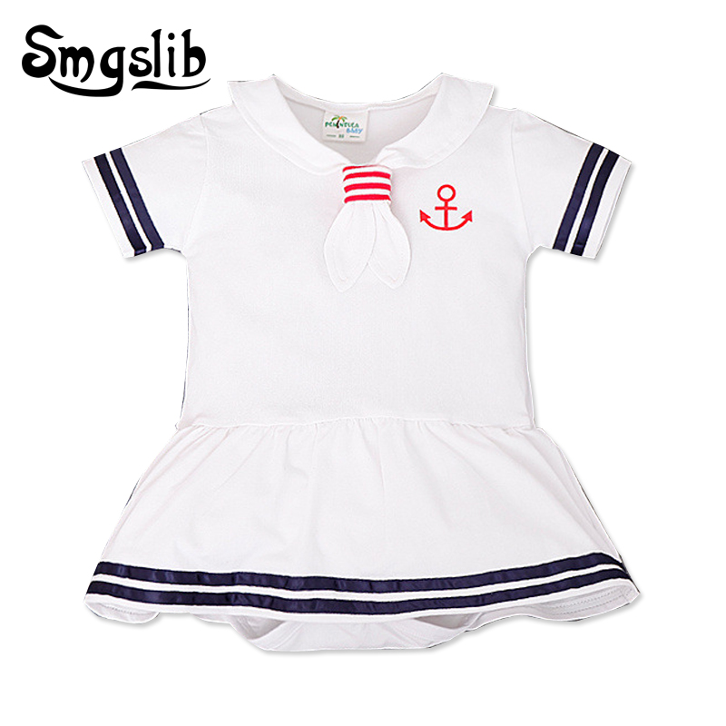 Baby clothes White Navy Sailor uniforms baby girl summer romper Short sleeve one-pieces baby boy clothing newborn jumpsuit 3pcs set newborn infant baby boy girl clothes 2017 summer short sleeve leopard floral romper bodysuit headband shoes outfits