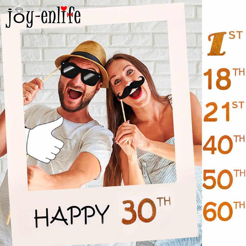 JOY-ENLIFE 30th 40th 50th 60th Foto Bingkai Booth Selamat Ulang Tahun Photobooth Alat Peraga Anak Pertama 1st Pesta Ulang Tahun Dekorasi Persediaan