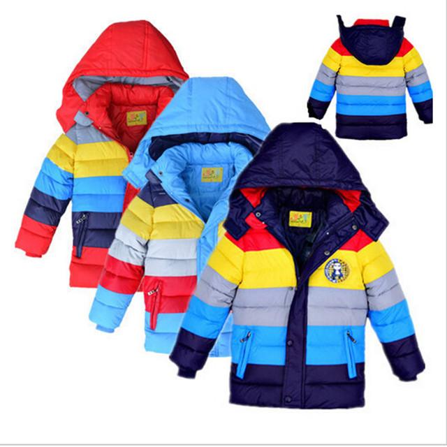 Alta qualidade Para Baixo Meninos Jaqueta de algodão Ano Novo Menino Casacos de Inverno listrado casaco casacos Meninas meninos roupas de Natal