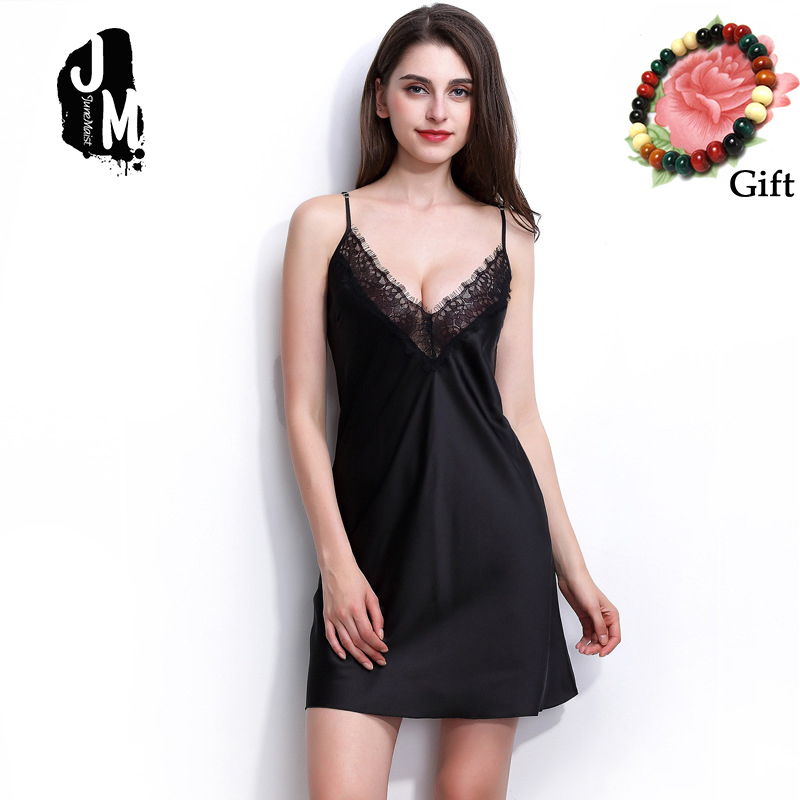 Summer Sexy Satin   Nightgowns   Sleepwear Women Solid Spaghetti Strap Nightie Nightwear Silk Sleep Dress   Nightgowns   &   Sleepshirts