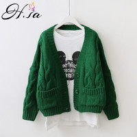 H SA Women Spring Cardigans Open Stitch Knitted Outerwear Twisted Oversized Sweater Cardigans Long Sleeve Casual