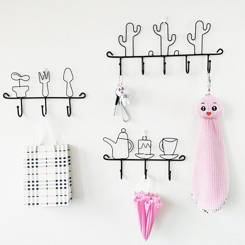 Cartoon wrought iron hook decorative wall hanging hook clothes hanger key holder Coat Hat Bag Organizer storage shelf home decor