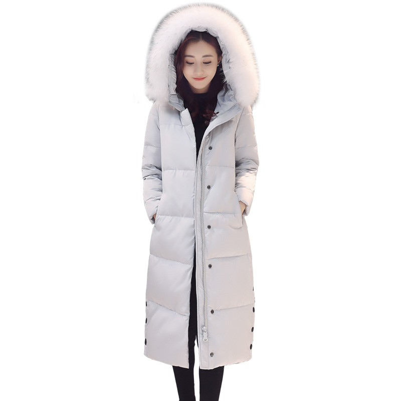 Winter Big fur collar hooded lady Slim down jacket 90%of White duck down jacket women Long section winter plus size down jacket