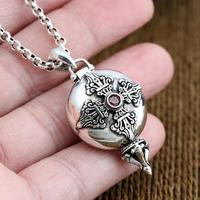 Real Silver 925 Amulet Box Charms Pendant Vajra Cross Set Red Stone Solid 925 Sterling Silver Jewelry Men Women Lucky Accessory