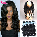 360 Lace Frontal With Bundles Brazilian Body Wave Virgin Hair 2/3/4 Bundles Human Hair Weave 360 Lace Band With Baby Hair
