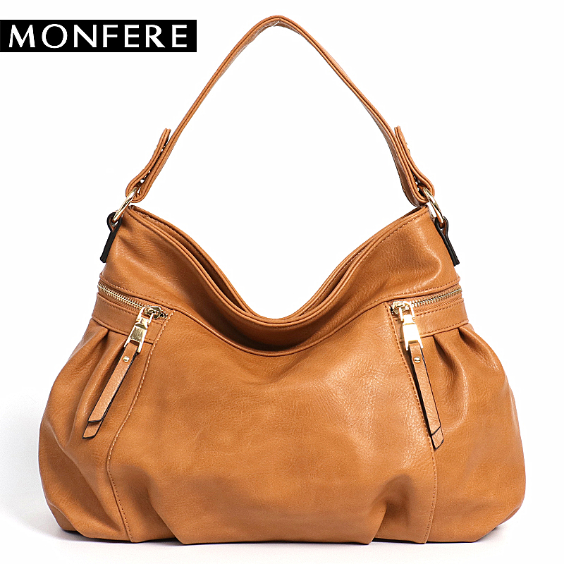 MONFER Casual Daily Women Shoulder Bag PU Leather Female Handbag Designer Fashion Large Messenger Zipper Bags Big Capacity Tote