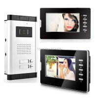 2 Unit 7 inch LCD Apartments Color Video Door Phone Doorbell House Security System 700VL Camera